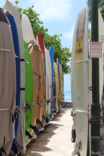 Planches de surf alignées